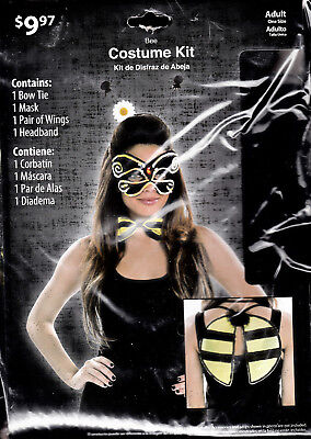 Women's Adult Halloween Bee Costume Kit - 4 Piece - Brand New