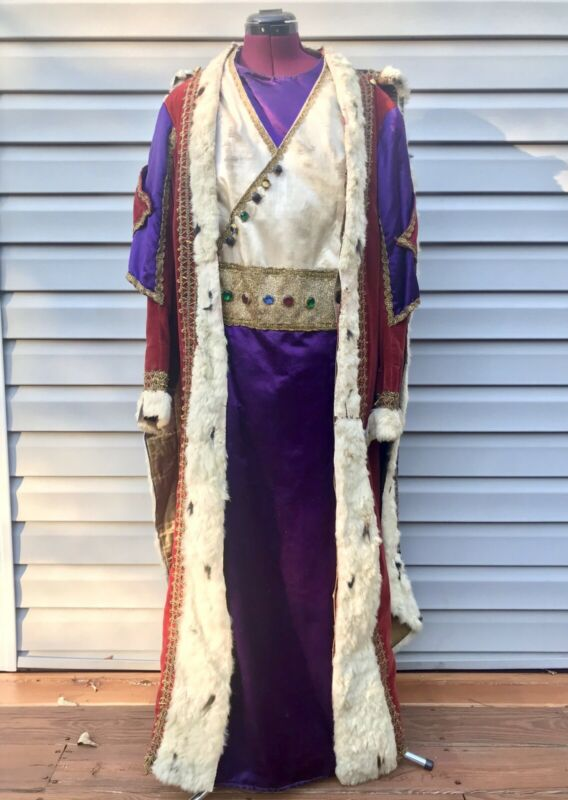 ANTIQUE ODD FELLOWS KING ROBE & CAPE REGALIA FIR LINED JEWELED COSTUME 1800's