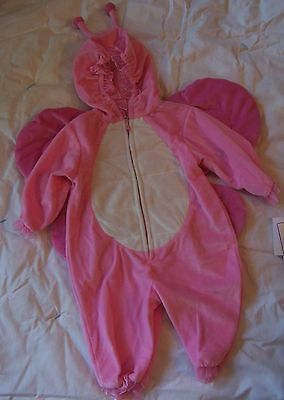 Babyworks Pink Plush Butterfly Hooded Wings Halloween Costume Bunting 3-6 Mo