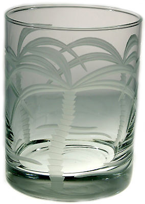 Palm Tree Large Cocktail Glasses S/4 14oz Nautical Double Old Fashioned Whiskey