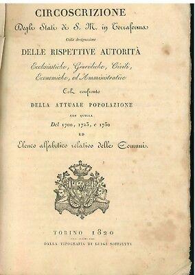 SAVOIA REGNO SARDEGNA CIRCOSCRIZIONE DEGLI STATI DI S. M. IN TERRAFERMA 1820