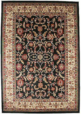 8X10 Area Rug New Persian Border Floral Kashan Beige Ebony Black Red Traditional