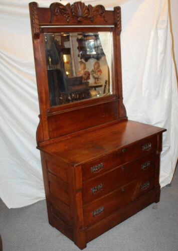 Antique Wood Dresser Chest with Mirror – original finish