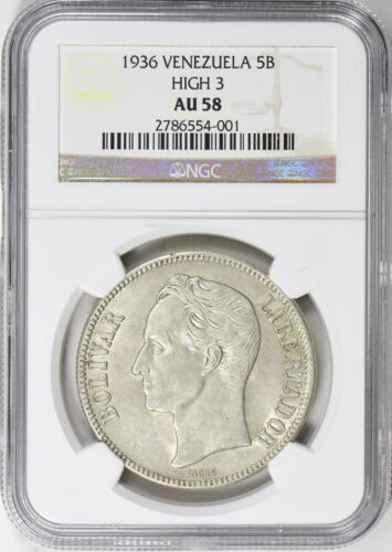 Venezuela 1936 5 Bolivares High 3 NGC AU-58 Silver Coin