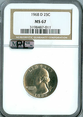 1968 D WASHINGTON QUARTER NGC MAC MS67 PL SPOTLESS .