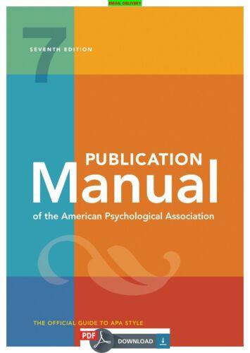 Manual Publication The American Association  Psychological 7th Ed ᴇʙᴏoᴋ