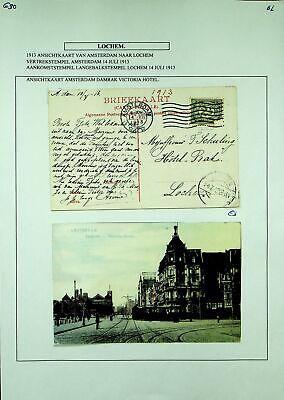 NETHERLANDS 1913 AMSTERDM DAMRAK HOTEL PRE WWI PPC W/ 2½c TO LOCHEM