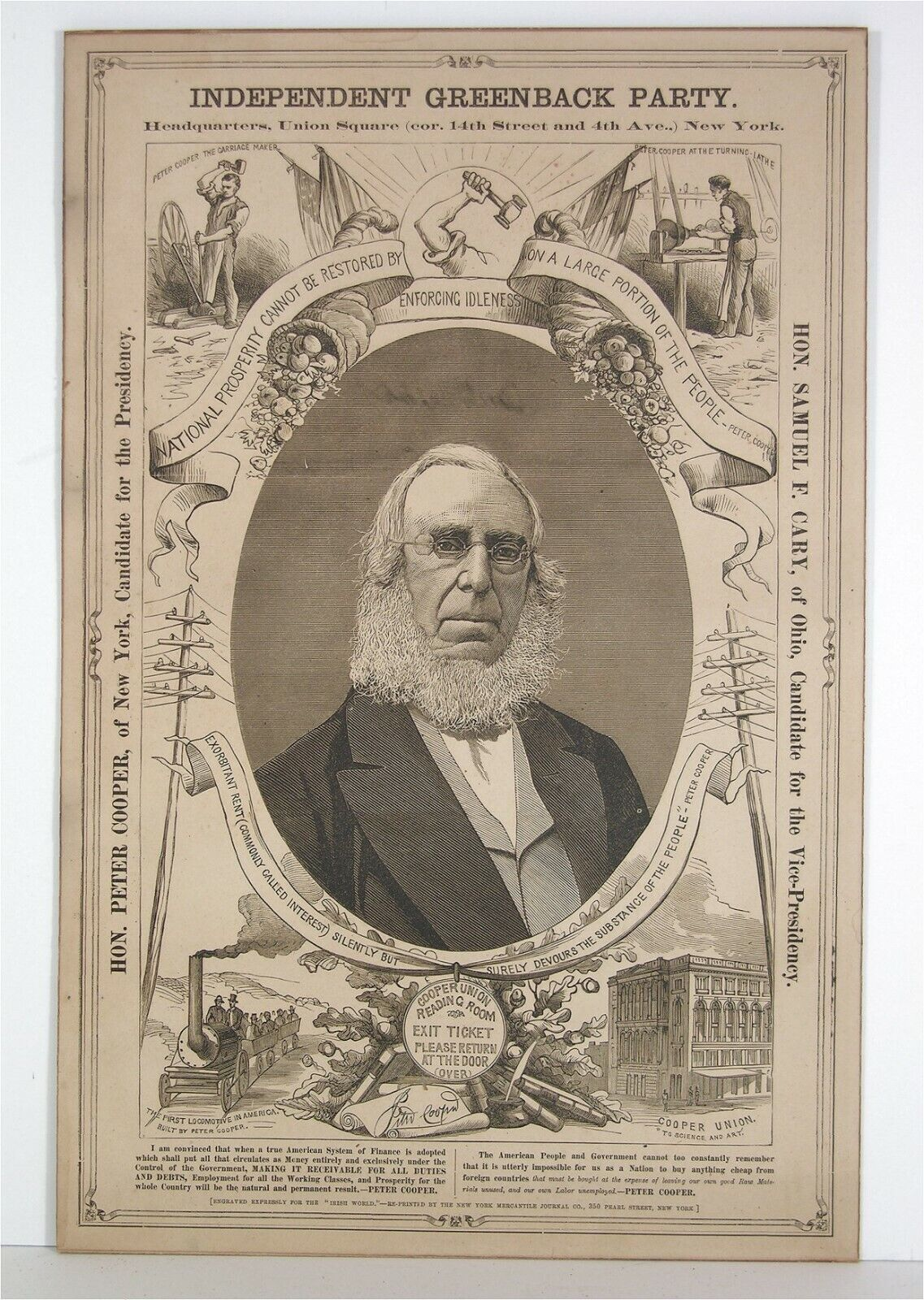 1876 PETER COOPER GREENBACK PARTY PRESIDENTIAL CAMPAIGN BANNER BROADSIDE POSTER