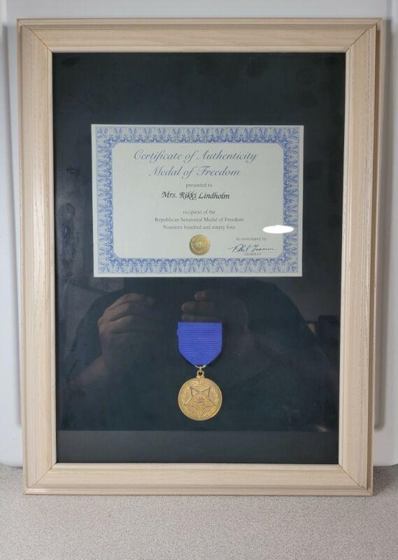 Presidential Republican Senatorial Medal Of Freedom Framed with COA