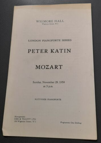 1959 Wigmore Hall London Pianoforte Series Concert Programme Peter Katin  Mozart