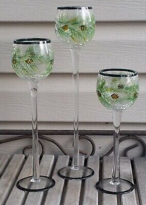 """3 Yankee Candle Hand Painted Crackle Glass Long Stem Votive Holders 12"""" 10"""" 8"""""""