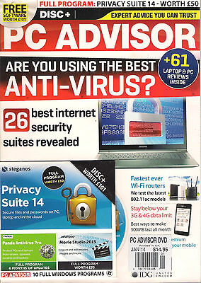 NEW PC ADVISOR 26 BEST ANTI-VIRUS Internet Security DVD Full PRIVACY SUITE 14