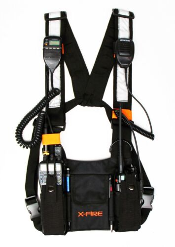 X-FIRE (2-Pack) Dual Portable Radio Chest Harness Vest Chaleco Front Holder