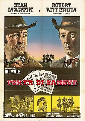Five Card Stud Dean Martin Robert Mitchum Italian 2-sheet movie poster R1970s