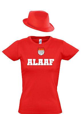Sexy Damen Köln Kostüm T-Shirt Top. Karnevals Shirt mit Hut für kölsche Mädchen