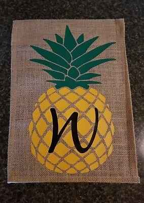 Pineapple Spring Summer Initial Monogram Burlap Garden Flag