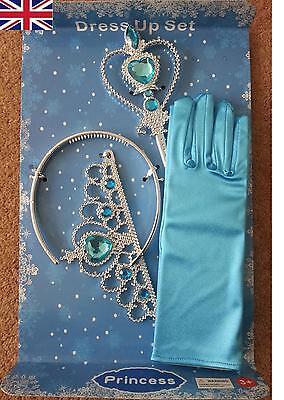 New Frozen Princess Queen Anna Elsa Wand, Crown & Blue Gloves Dress up 3 Pcs Set