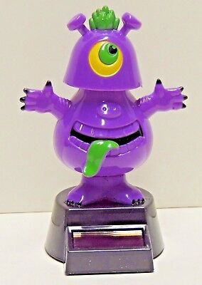 Solar Dancing One Eyed Purple Monster - Big Green Tongue W/ Green Hair - NEW