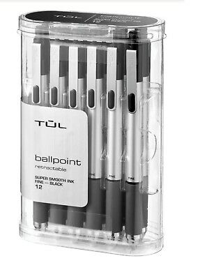 Tul Bp3 Ballpoint Retractable Pen Fine Point 0.8 Mm Black Ink 12-pack New