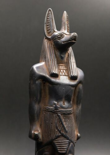 ANCIENT EGYPTIAN ANUBIS EGYPT ANTIQUES DOG STATUE CARVED BLACK STONE BC