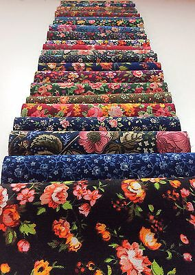 """Old-fashioned Bouquet Shabby chic Darks precut 10"""" layer cake 100% cotton fabric quilt"""