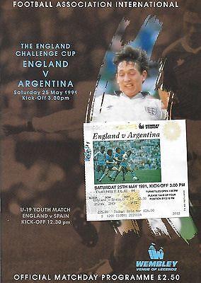 Football Programme plus Ticket>ENGLAND v ARGENTINA May 1991