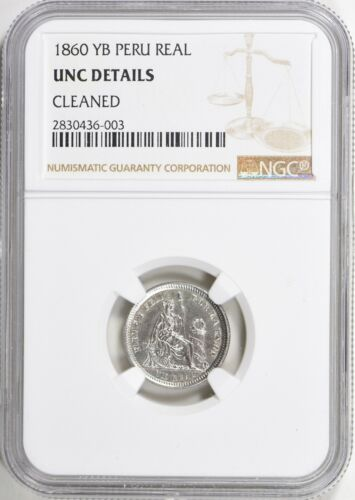 Peru 1860-YB Real NGC Unc Details Silver Coin