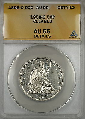 Click now to see the BUY IT NOW Price! 1858 O SEATED LIBERTY SILVER HALF DOLLAR COIN ANACS AU 55 DETAILS CLEANED PL