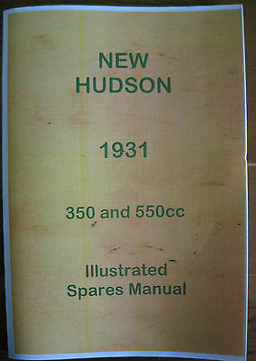 VINTAGE NEW HUDSON ILLUSTRATED SPARES BOOK 1931 350 AND 550 CC