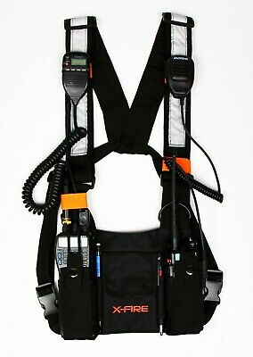 X-fire Radio Vest Tactical Dual Chest Rig Harness Universal Front Pouch Ham Cb