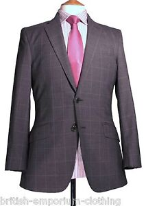 BNWT Richard James SAVILE ROW Grey WINDOWPANE Wool Suit Uk36