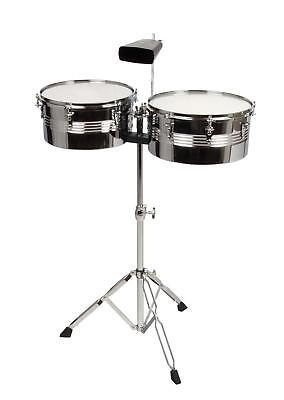 "Timbales Set 13"" 14"" Percussion Drums Cowbell Drum-Sticks Dämpferset Trommel"