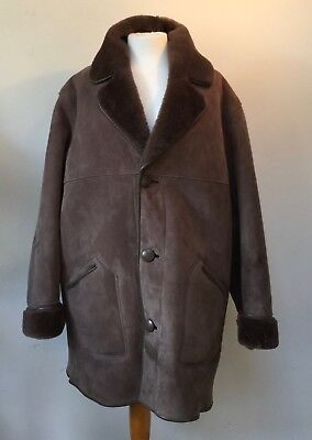 "'LAKELAND' TAUPE SHEEPSKIN / SHEARLING KNEE LENGTH JACKET to fit  44 "" MAX"