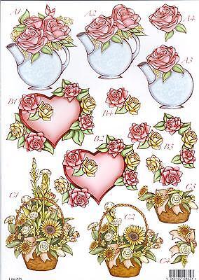 * TOP 3D Stanzbogen Bogen Blumenherz Sonnenblumen Geburtstag Muttertag N29 - Top 3 Bogen