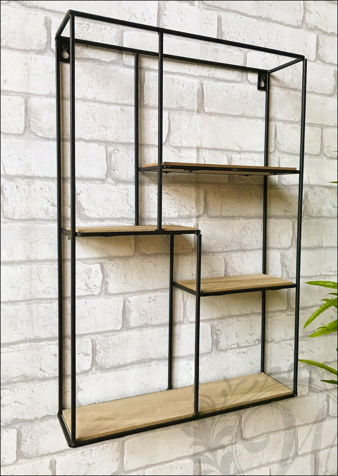 Rectangle Wall Unit Retro Wood Industrial Style Metal