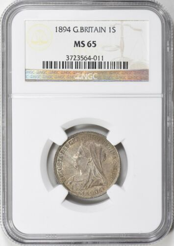 1894 Great Britain Shilling NGC MS 65 (Toned)