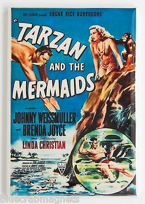 Tarzan And The Mermaids Fridge Magnet  2 X 3 Inches  Movie Poster Ape Man
