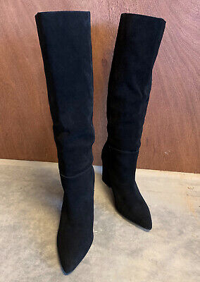 Black Suede Steve Madden Raddle Knee High Boots Slouchy Block Heel Size 9