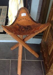 Real leather stool, Mexican 3 timber legs Ashmore Gold Coast City Preview