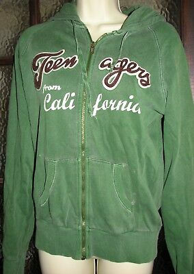 Ladies green hoodie with motif size M
