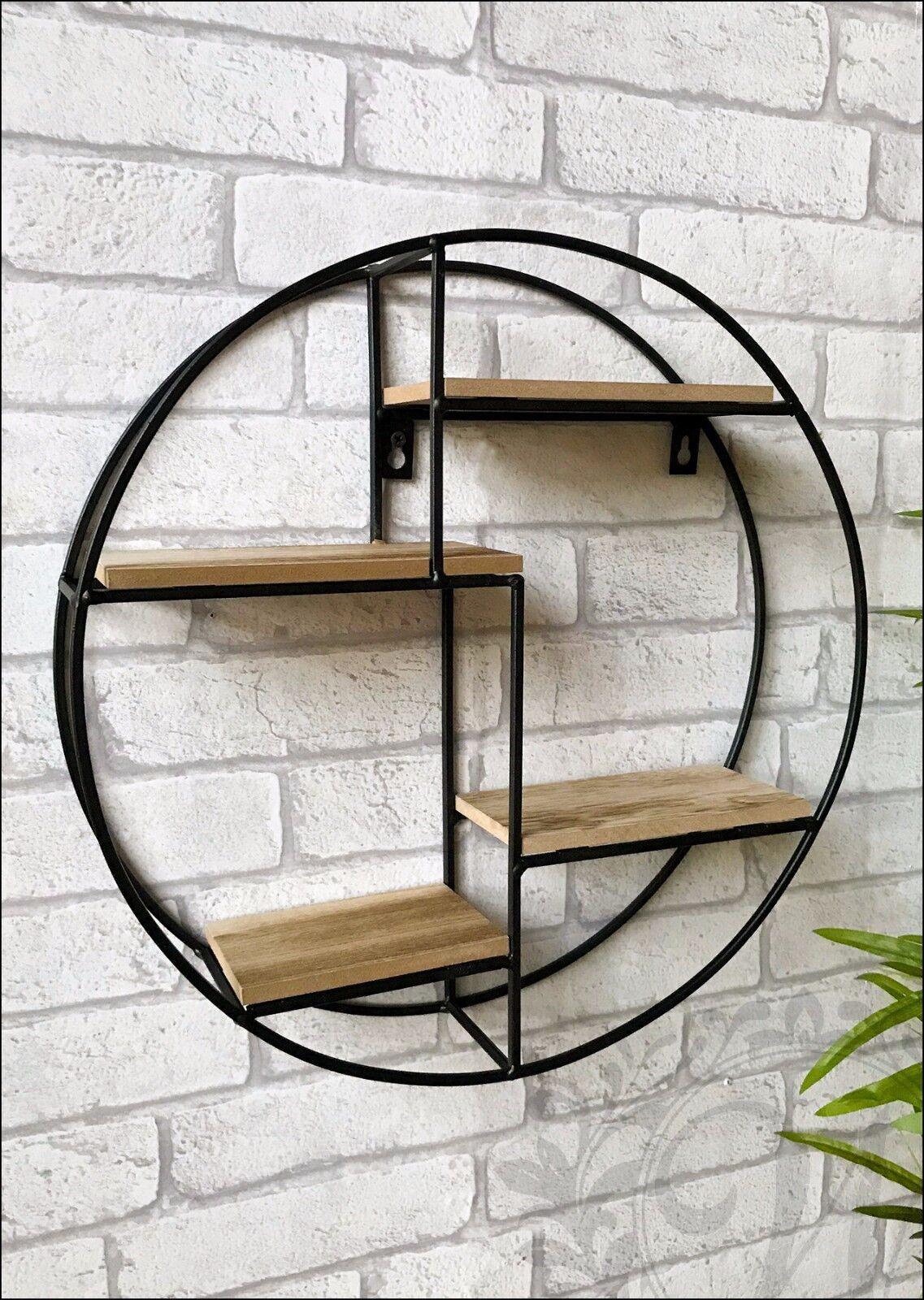 Round Wall Unit Retro Wood Industrial Style Metal Shelf