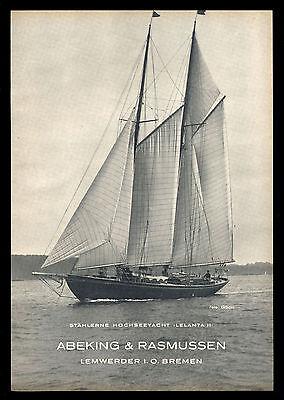 Grosse Werbung 1950 Hochseeyacht LELANTA II Werft Abeking & Rasmussen Bremen