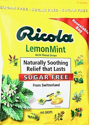 Ricola Lemon-Mint Herb Throat Cough Drops SUGAR-FREE, Made in Switzerland
