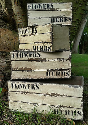 4 small antique style kitchen wood vegetable crates box flowers herb plants