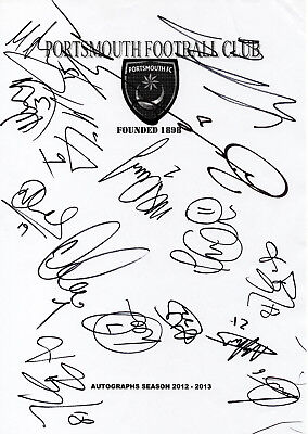 PORTSMOUTH - Multi Signed A4 Page - By 16 Players 2012/13 - FOOTBALL