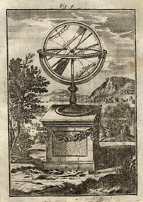 Armillary Sphere Original Copperplate Map Mallet 7 1719