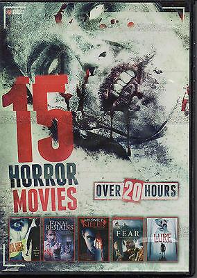 15 Horror Movies 20 HOURS (DVD, 2014, 3 Disc) NO CASE NO ART EXCELLENT - Halloween Excel Art
