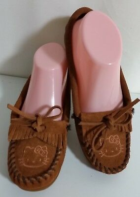 Minnetonka HELLO KITTY Brown Leather Suede Moccasins Flat Shoes Size Women's 6 Leather Suede Moccasins