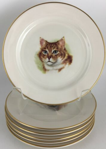Pickard Group of (6) Six bread & butter plates w / Cats decoration