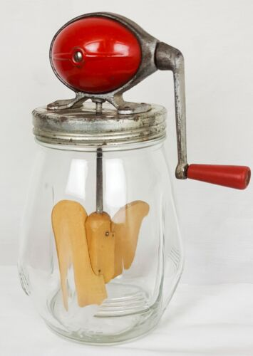 Vintage Dazey Butter Churn # 4 Red Football Top - 4 Qrt. Tulip Jar - Wood Paddle